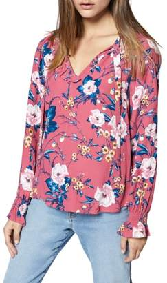 Sanctuary Leighton Floral Asymmetrical Ruffle Blouse