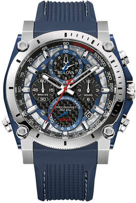 Bulova Men's Chronograph Precisionist Blue Rubber Strap Watch 46.5mm