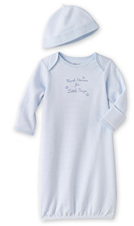 Little Me Baby Boys' Blue Thanks Gown and Hat
