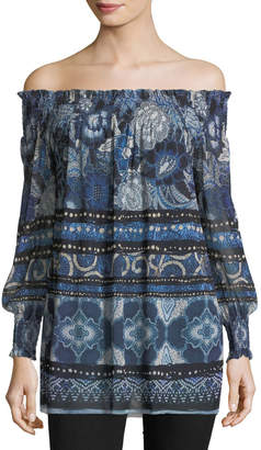 Fuzzi Patchwork Off-the-Shoulder Tunic