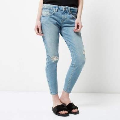 River IslandRiver Island Womens Petite blue Alannah rip relaxed skinny jeans