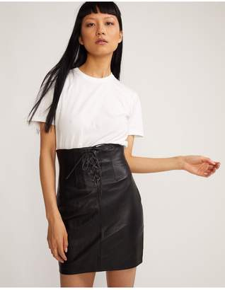 Cynthia Rowley Lace Front Leather Skirt
