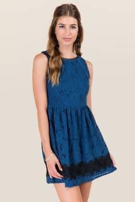 francesca's Cornelia Lace Trim A-line Dress - Peacock