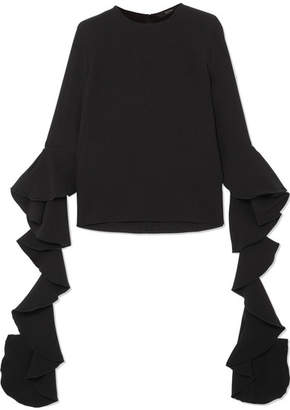 Ellery Emmeline Ruffled Crepe Top - Black