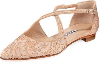 Manolo Blahnik Umice Crisscross Lace/Suede Flats