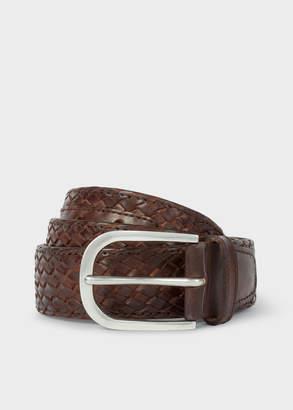 Paul Smith Men's Brown Plaited Leather Belt