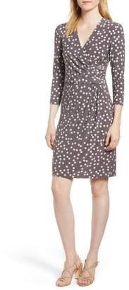 Anne Klein Large Dot Draped Front Dress