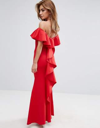 Club L Fishtail Maxi Dress With Waterfall Frill Back Detail
