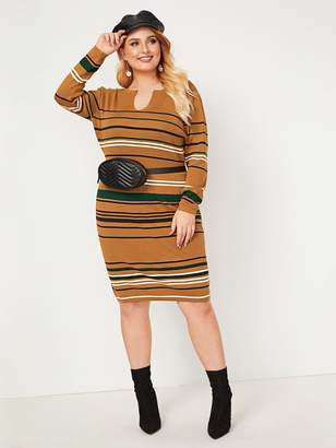 Shein Plus Striped Notched Collar Sweater Dress Without Bag