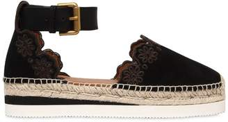 See by Chloe 40mm Laser-Cut Flowers Suede Espadrilles