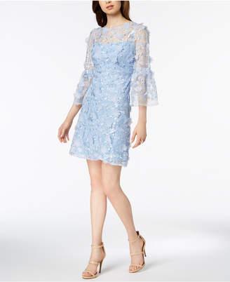 Jax Bell-Sleeve Floral-Applique Dress
