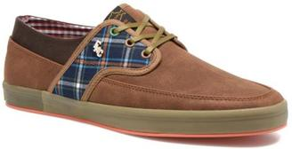 Men's Fish 'N' Chips Tea Plaid Mix Lace-Up Trainers In Brown - Size Uk 9.5 / Eu