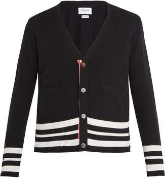 Thom Browne V-neck striped-sleeve cashmere cardigan