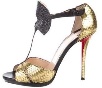 Christian Louboutin Snakeskin Metallic Sandals