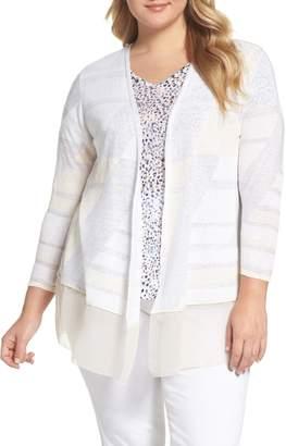 Nic+Zoe Sunlight Chiffon Trim Linen Blend Cardigan
