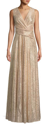 Talbot Runhof Surplice-Neck Sleeveless A-Line Laminated Plisse Evening Gown