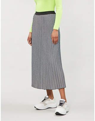 Maje Jazia houndstooth pleated skirt