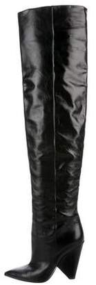 Saint Laurent Niki Pointed-Toe Over-The-Knee Boots