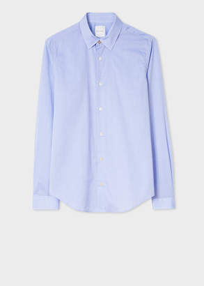 Paul Smith Men's Super Slim-Fit Sky Blue Mini Dot Print Shirt With 'Artist Stripe' Cuffs