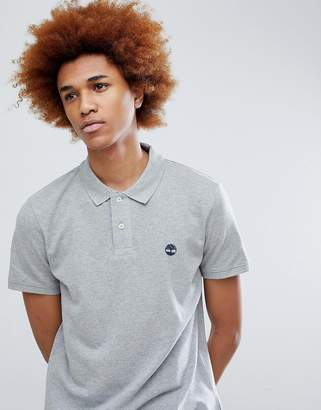 Timberland tree logo pique polo in gray marl