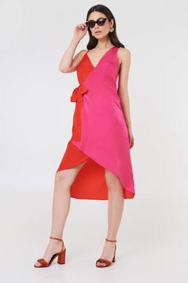 NA-KD Na Kd Asymmetric Wrap Dress Blue Combo