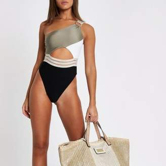 River Island Womens Khaki ribbed one shoulder high leg swimsuit