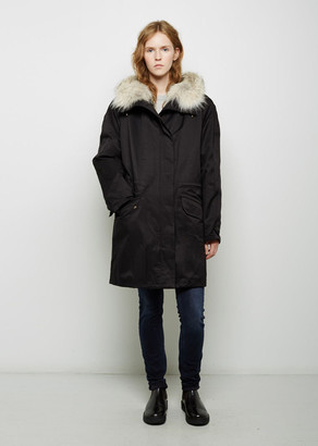 Army By Yves Salomon Coyote Fur-Lined Cotton Parka $2,256 thestylecure.com