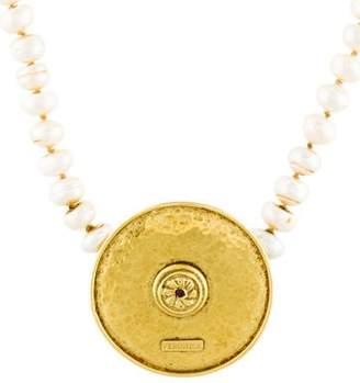 18K Pearl & Ruby Medallion Bead Strand