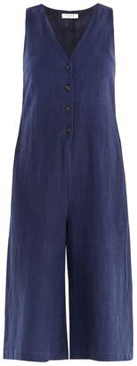 PAISIE - Side Vent Jumpsuit With Button Front In Navy
