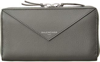 Balenciaga Papier Continental Leather Zip Around Wallet