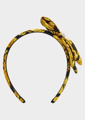 Versace Barocco Print Silk Bow Headband