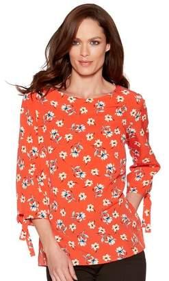 M&Co Floral print tie sleeve top