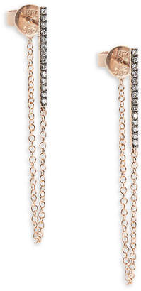 Ef Collection White Diamond & 14K Rose Gold Bar Chain Studs