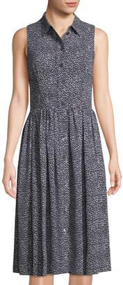 Michael Kors Leopard-Print Sleeveless Silk Shirtdress, Black/White