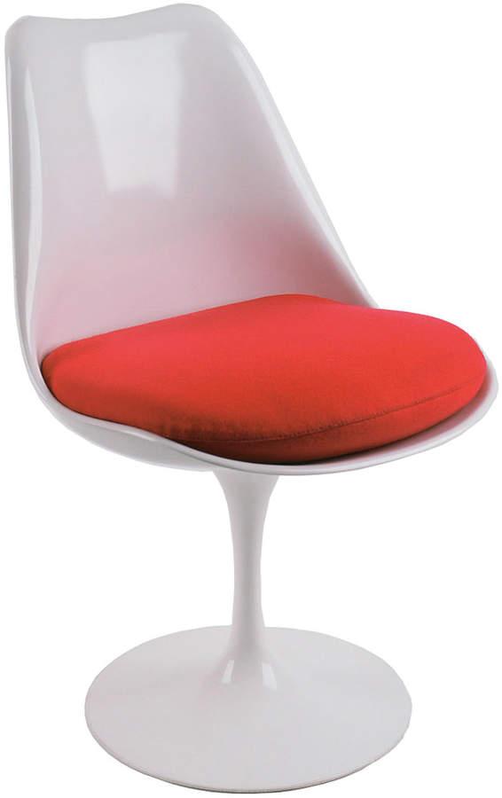 Knoll International Knoll - Saarinen Tulip Stuhl drehbar, Weiß / Sitzkissen Hopsack rot 10