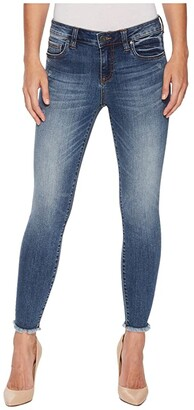 KUT from the Kloth Connie Ankle Skinny Fray Hem Jeans in Guileless/Medium Base Wash