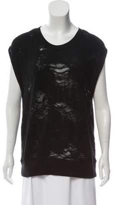 IRO Distressed Sleeveless Sweatshirt