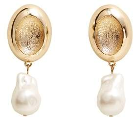MANGO Pearl detail metallic earrings