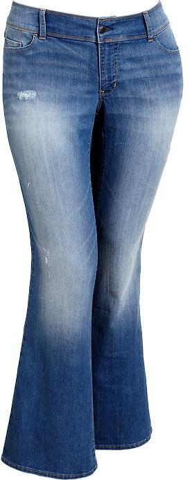 Old Navy Women's Plus Distressed Low-Rise Flare Jeans