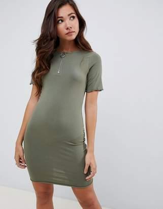 Asos Design DESIGN mini t-shirt dress with zip neck