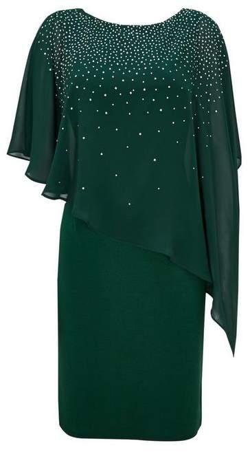 Forest Green Embellished Overlay Dress