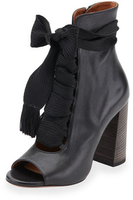Chloe Open-Toe Leather Lace-Up 70mm Ankle Boot, Black $1,020 thestylecure.com