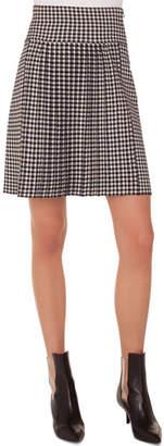 Akris Punto Glen-Check Pleated A-Line Knit Skirt