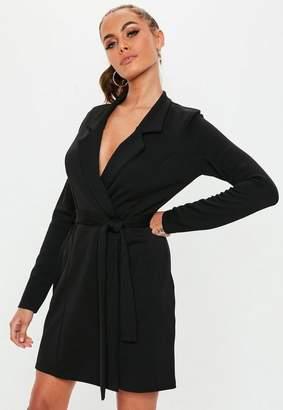 Missguided Black Long Sleeve Belted Blazer Dress, Black