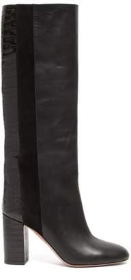 Aquazzura Eaton 85 Croc Embossed Knee High Leather Boots - Womens - Black