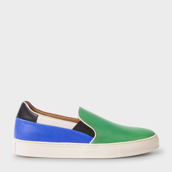Paul SmithMen's Green And Blue Calf Leather 'Zorn' Slip-On Sneakers