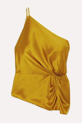 Mason by Michelle Mason One-shoulder Knotted Silk-charmeuse Top - Mustard