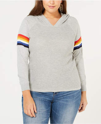 INC International Concepts I.N.C. Plus Size Rainbow-Trim Hoodie, Created for Macy's