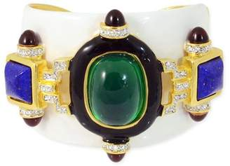 Kenneth Jay Lane White And Emerald Cuff