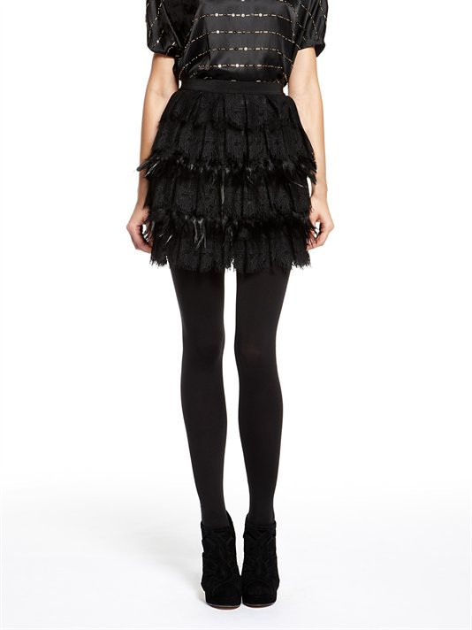 DKNY Lightweight Stretch Georgette Fantasy Skirt W/ Tiered Lace And Feathers